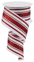 "2.5"" Glitter Farmhouse Stripe Ribbon- White/Red  RGA114127"