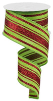 "2.5"" Glitter Farmhouse Stripe Ribbon- Lime Green/Red  RGA1141E9"