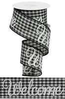 "2.5""  Welcome Gingham Check Ribbon-Black/White  SKU RGA1250CF"