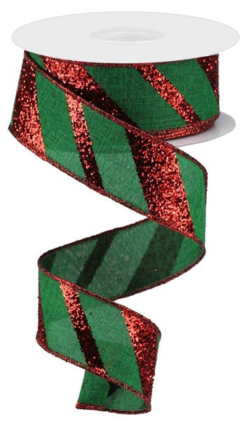 "1.5"" Diagonal Glitter on Royal Ribbon- Emerald/Red  SKU RGA150206"