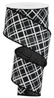 "2.5""  Thick/Thin Diagonal Check Ribbon- Black/White  SKU RGA150602"