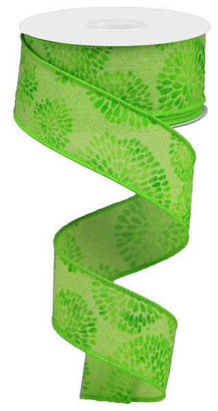 "1.5"" Color Burst on Cotton Ribbon-Bright Green/Multi Green SKU RGA1551RM"