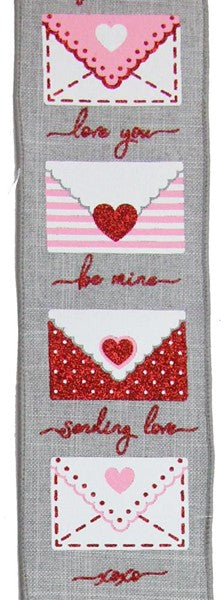 "2.5""  Love Letters on Royal Ribbon- Light Grey/White/Red/Pink  SKU RGA159810"