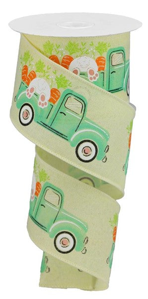 "2.5""  Truck w/Bunny  & Carrots on Royal Ribbon- Yellow/White/Orange/Green/Cream/Pink  SKU RGA16021T"