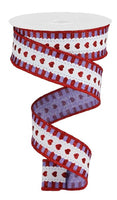 "1.5""  Hearts w/ Stripe Border Ribbon- Lavender/White/Red  SKU RGA163413"