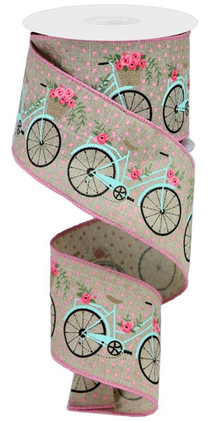 "2.5"" Bicycles on Royal Ribbon- Light Natural/Multi SKU RGA164018"