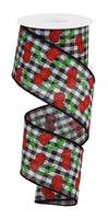 "2.5"" Cherries on Gingham Check Ribbon-Black/White/Red/Green  SKU RGA164702"