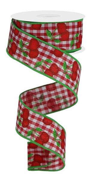 "1.5"" Cherries on Gingham Check Ribbon-White/Red/Green  SKU RGA164956"