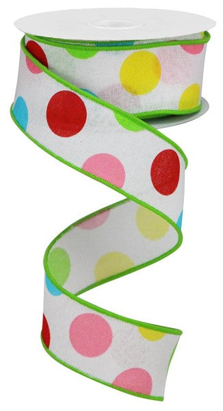 "1.5"" Multi Polka Dots on Royal-White/Red/Pink/Yellow/Green  SKU RGA1662AY"