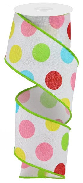 "2.5"" Multi Polka Dots on Royal-White/Red/Pink/Yellow/Green  SKU RGA1663AY"