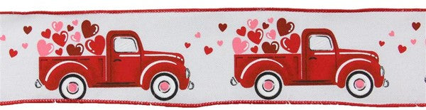 "2.5""  Truck w/Hearts on Royal Ribbon- White/Red/Pink SKU RGA167827"