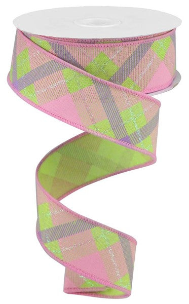 "1.5"" Iridescent Glitter Plaid on Royal Ribbon-Bright Green/Lavender/Irid White  SKU RGA169009"
