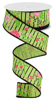 "1.5"" Floral Lines on Royal Ribbon-Bright Green/Multi Pink  SKU RGA17551X"