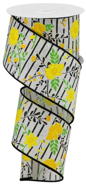 "2.5"" Floral Lines on Royal Ribbon-Ivory/Yellow  SKU RGA1756K3"