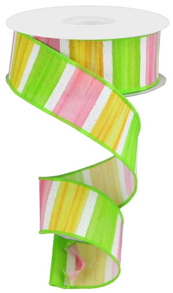 "1.5"" Watercolor Stripes on Royal Ribbon-Yellow/Pink/Green/White  SKU RGA1764M6"