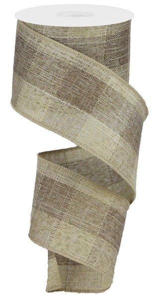 "2.5"" Woven Royal Burlap Check Ribbon- Two Tone Brown/Beige   SKU RGA177204"