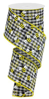 "2.5"" Mini Bumblebees Gingham Check-Black/White/Yellow  SKU RGA183657"