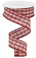 "1.5"" Multi Check Ribbon-Red/Beige  RGA188124"