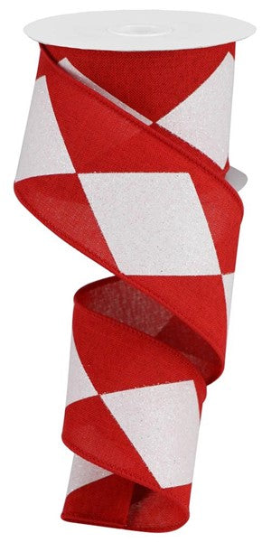 "2.5"" Bold Harlequin on Royal Ribbon -Red/White  SKU RGB101724"