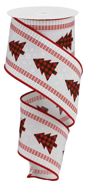 "2.5"" Christmas Tree Check & Stripe Ribbon- Black/Red/White SKU RGB120127"