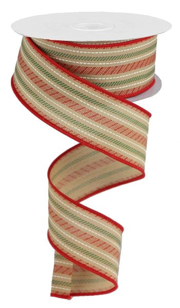 "1.5"" Slash Stripe Ribbon -Tan/Red/Green  SKU RGB1225F2"