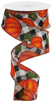 "1.5""  Pumpkins with Leaves on Check Ribbon-Cream/Orange/Moss/Yellow/Gold  SKU RGB1241C2"