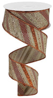 "1.5"" Multi Diagonal Stripe on Royal Ribbon- Lt Beige/Copper/Burgundy   SKU RGB130168"