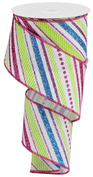 "2.5"" Multi Diagonal Stripe on Royal Ribbon- White/Hot Pink/Turquoise/Lime   SKU RGB13021W"