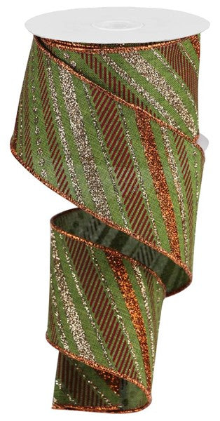 "2.5"" Multi Diagonal Stripe on Royal Ribbon- Moss/Green/Copper/Burgundy   SKU RGB130252"