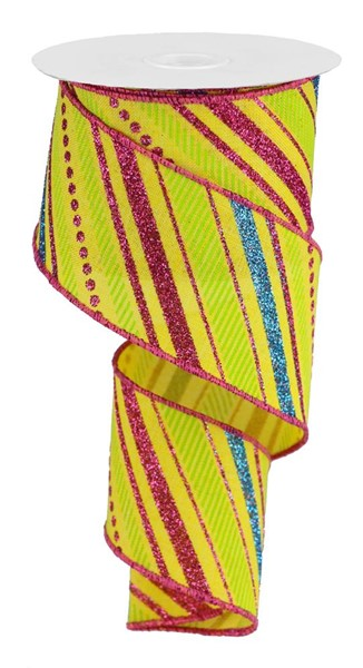 "2.5"" Multi Diagonal Stripe on Royal Ribbon- Yellow/Hot Pink/Turquoise/Lime   SKU RGB1302Y2"