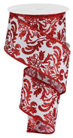 "2.5"" Bold Damask on Faux Dupioni Ribbon- White/Red    SKU RGB132567"