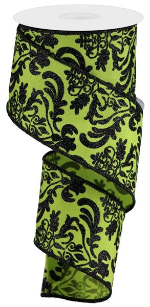 "2.5"" Bold Damask on Faux Dupioni Ribbon- Lime Green/Black    SKU RGB1325NN"