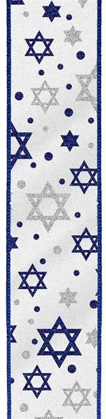 "1.5""  Glitter Star of David on Satin Ribbon-Royal Blue/Silver/White  SKU RGB136727"