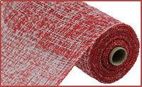 "10"" Two-Tone Poly Burlap Mesh- Red/White  SKU RP815634"