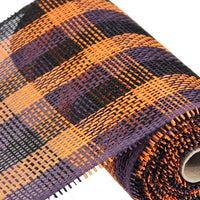 "10"" Woven Check Paper Mesh- Purple/Orange/Black  SKU RR800652"