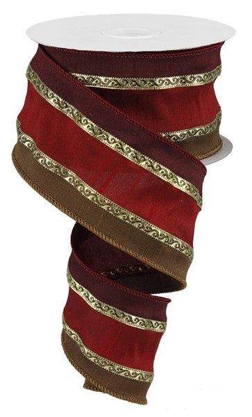 "2.5"" 3 in 1 Scroll Trim Ribbon- Red/Brown/Burgundy/Gold  SKU RW75717Y"