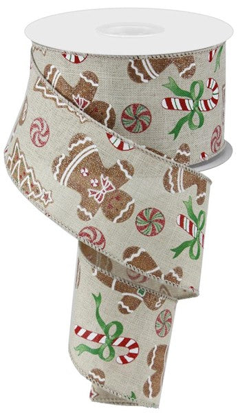 "2.5""  Gingerbread w/ Candy Cane Ribbon-Beige/Red/Green/White/Brown  SKU RX418701"