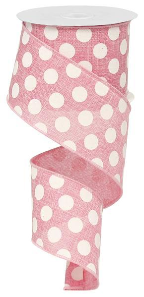 "2.5"" Medium Multi Dot Fuchsia White Ribbon SKU RX9146WT"