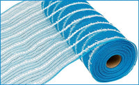 "10.5"" Metallic Cotton Drift Mesh- Turquoise/ White   SKU RY810067"