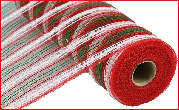 "10.5"" Metallic Snowdrift Stripe Mesh- Red/ White/Emerald   SKU RY8111C1"