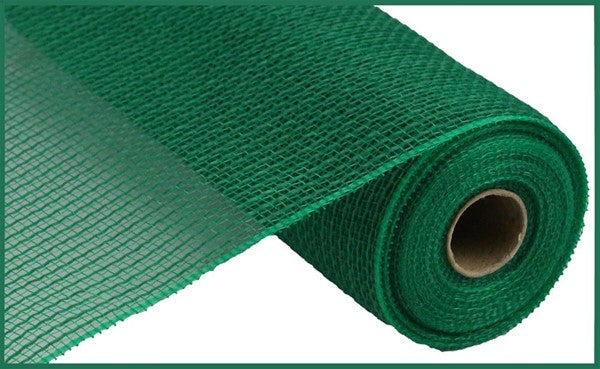 "10"" Faux Jute/PP Stripe Mesh -Emerald Green  SKU RY831206"