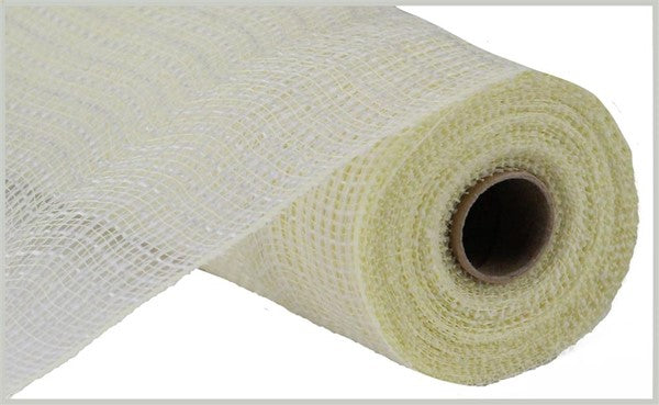 "10"" Faux Jute/PP Check Mesh -Cream/White  SKU RY831383"