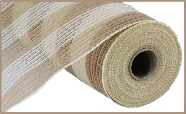 "10"" Faux Jute/PP Small Stripe Mesh- Natural/Cream  SKU RY831954"