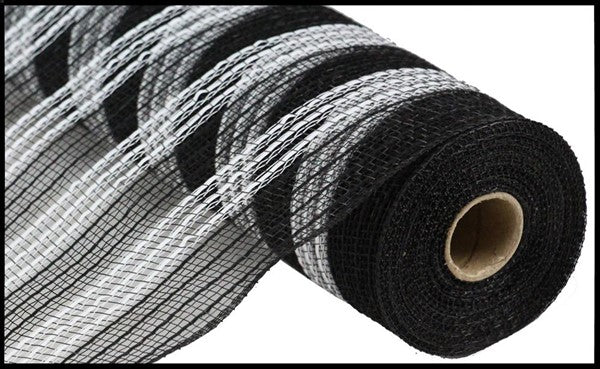 "10"" Metallic Faux Jute/PP Stripe Mesh -Black/White  SKU RY832862"