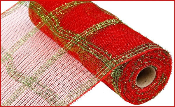"10"" Wide Tinsel/PP/ Foil Check Mesh- Red/Lime  SKU RY840234"