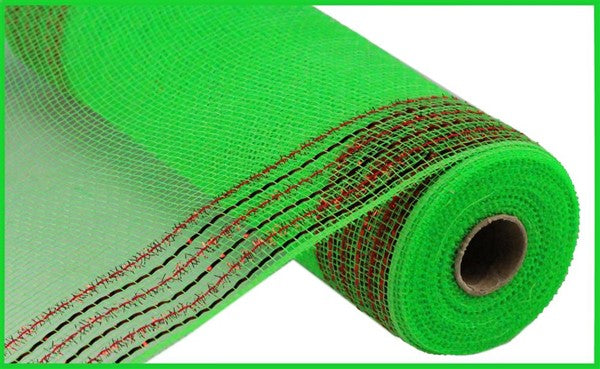 "10"" Tinsel Foil Wide Border Mesh- Lime Green/ Red  SKU RY850570"