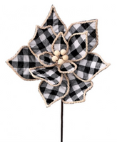 "24"" Jute Edge Country Check Poinsettia Pick-Black/White  SKU MTX 64320BKWH"