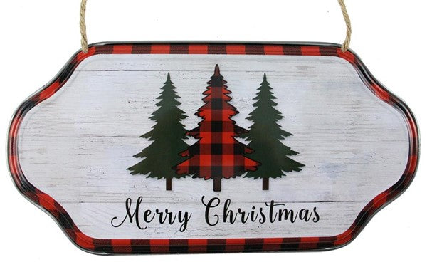 "12"" Merry Christmas Trees Sign-Red/Black/White/Green   SKU XC6213"