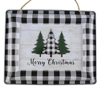 "12"" Merry Christmas Trees Sign-Black/White/Green   SKU XC6216"