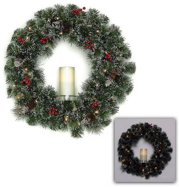 "24"" Frosted Pine and Berry Wreath w/Candle   SKU XP1349"